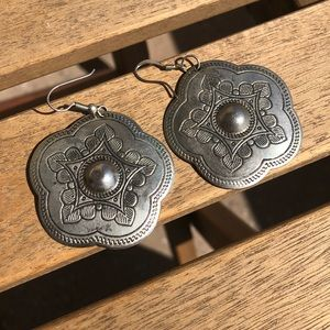 Vintage Silver Southwestern Style Floral Earrings